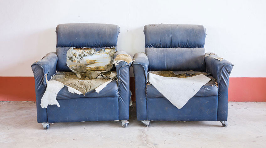 A living room with a blue seat Description automatically generated